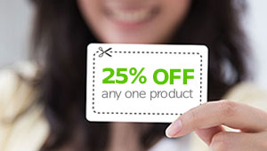 Girl holding a coupon that says save 25% on any one product